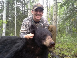 "Steve took time from his Ministry to hunt a bear at my camp.  HIs work delayed him from arriving on time so 2 days is all we had.  His first day of his spot and stalk hunt he nailed this guy.  A short run by the bear and it was on the ground for keeps.  As he called it, ""The bear bathroom trail"", had a pile of scat every 30 feet, often closer together.  A smorg for bears.  Steve is one of the best people I have ever guided."