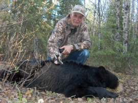 John, from Alberta poses with his black bear. Seldom do I take clients form Alberta but I took 4 in total this year. All were exceptional people to have in camp and all became friends of mine. Their patience and skill at hunting provided each with bears to take home. I look forward to meeting them all a second time. See you this fall, John, for the antelope hunt we talked of.