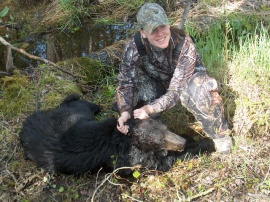 Thanks again for your charm and charisma Emily. Such a great lady to have hunting in our camp. Again a repeat client who harvested both bears, this one was sitting well up in a tree when to took her shot. We have a two bear limit in our area and Emily takes full advantage of getting her two. We always enjoy her dad as well who has accompanied her on both hunts. Looking forward to getting you the moose you want as well.